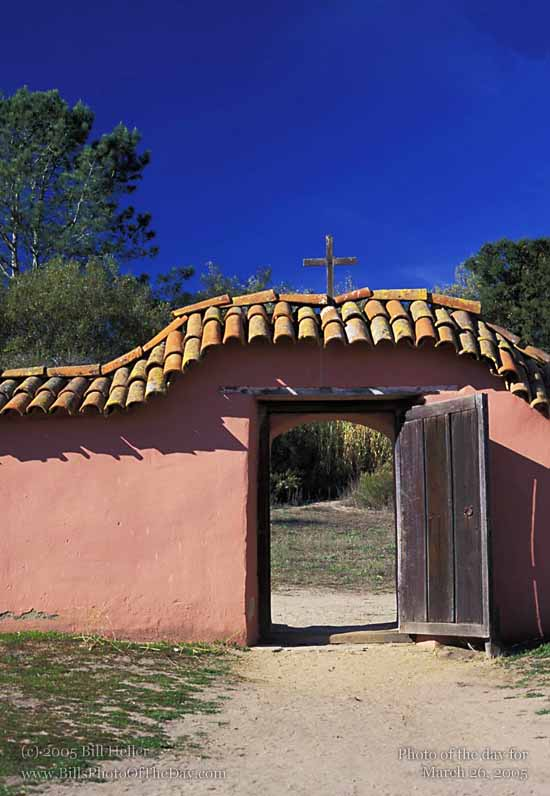 Gate in Mission wall at La Purisima Mission