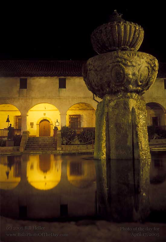 "Reflections in the fountain at Mission Santa Barbara ""Queen of the Missions""."