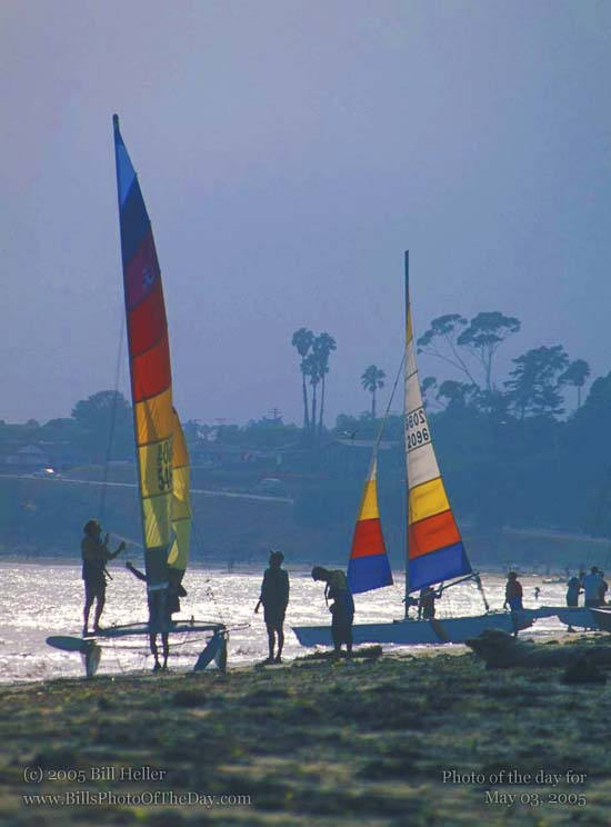 Catamarans on Leadbetter Beach in Santa Barbara