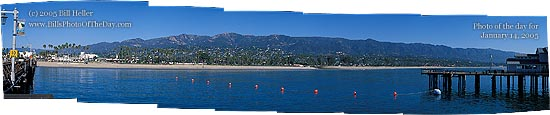 Santa Barbara Beach from Stearns Wharf 7 stitched images