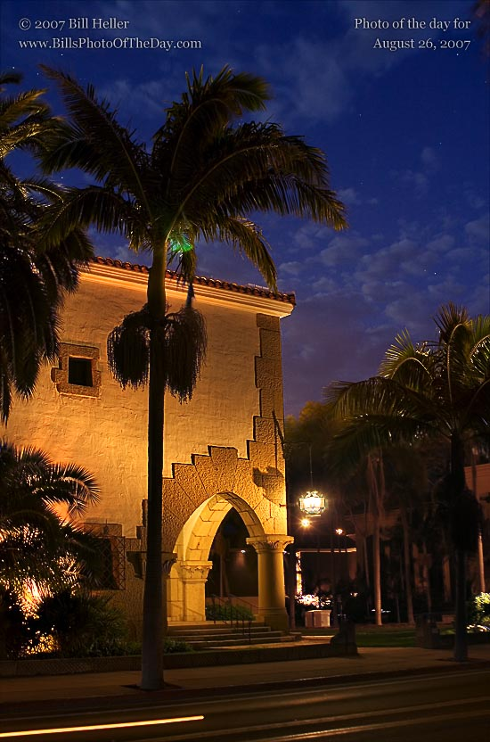 Santa Barbara Courthouse in the evening