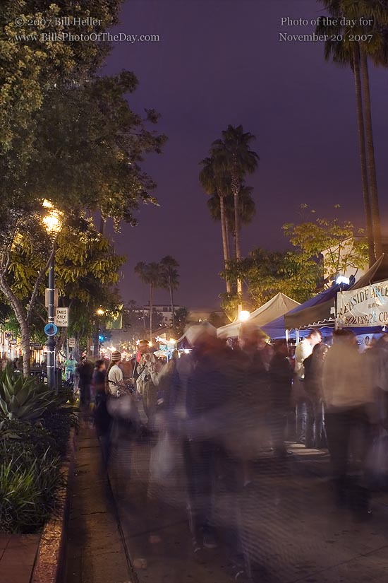 Santa Barbara Farmers' Market just after dark