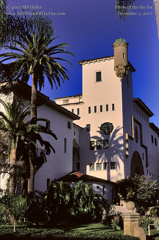 Santa Barbara Courthouse with the Shadow of a palm tree in the golden morning light