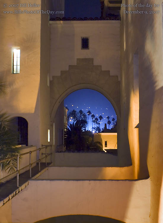 Evening palms visible through an Archway in the Santa Barbara Courthouse