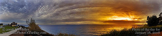 Panoramic image of the sunset from Shoreline Park in Santa Barbara