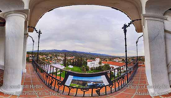 360° view from the Santa Barbara Courthouse Clocktower on a cloudy day