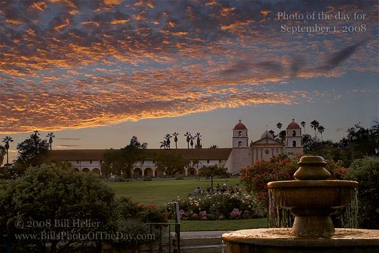 Sunset over the Santa Barbara Mission from the rose garden fountain