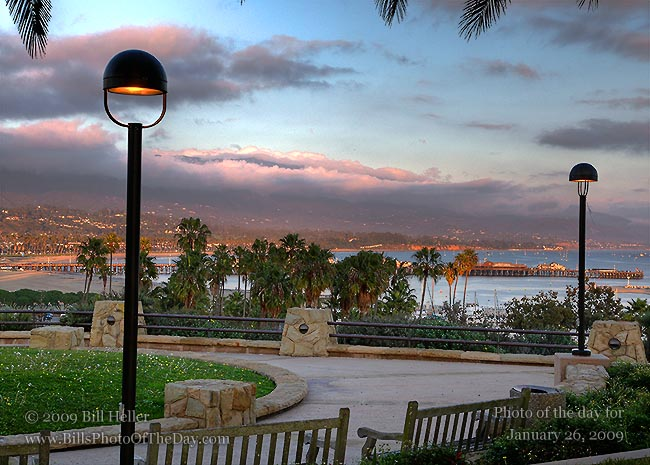 View of Stearn's Wharf from Santa Barbara City College