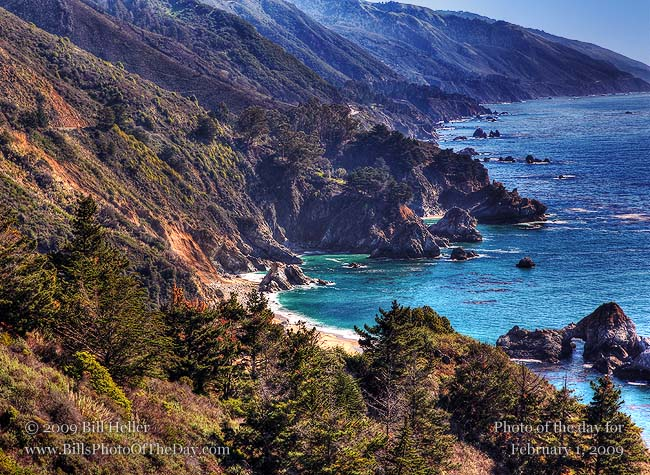Looking down on a secluded cove along Highway 1, Monterey County, CA