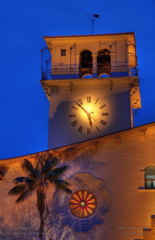 Quatrefoil window and Clock Tower at the Santa Barbara Courthouse