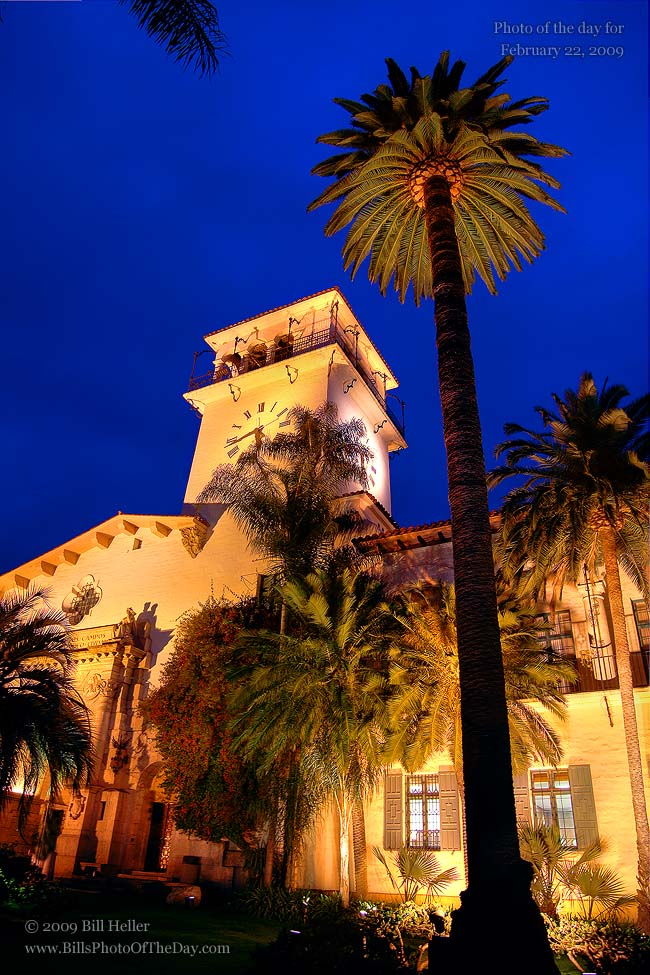 Courthouse clocktower just after sunset, Santa Barbara, CA