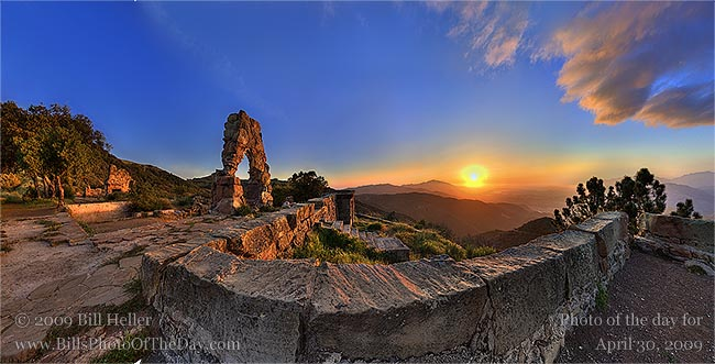 Golden sunset light on Knapp's Castle arch and stairs in the mountains above Santa Ynez