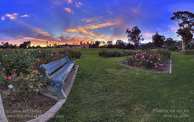 Panoramic photo of the Rose Garden at the Mission Santa Barbara (Queen of the Missions) Santa Barbara, California