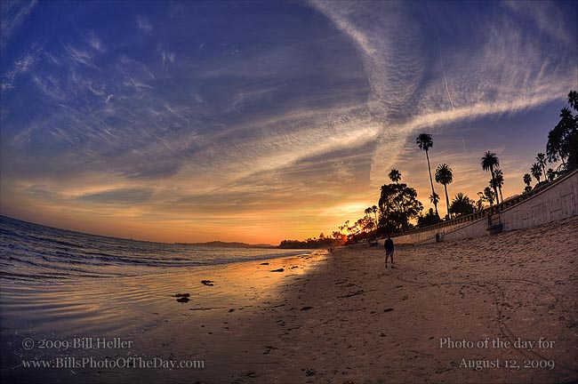 Sunset contrails at Butterfly Beach, Montecito, California