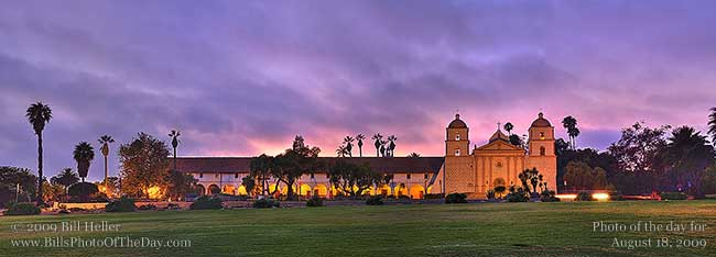 Panoramic photo of the Mission Santa Barbara (Queen of the Missions) Santa Barbara, California