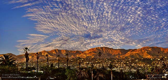 Sunset clouds over the Santa Barbara hills.