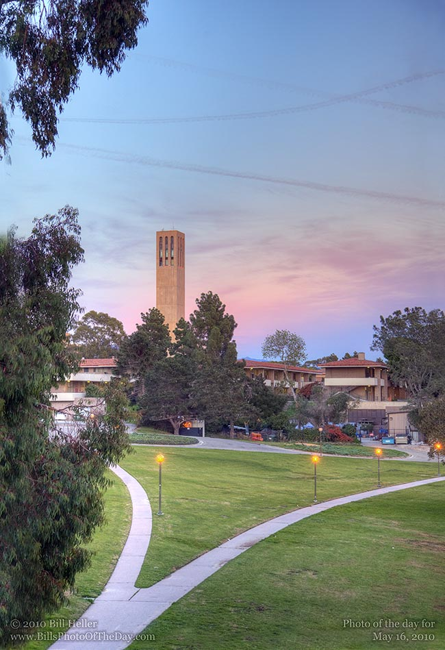University of California Santa Barbara walking path with Storke Tower in the background