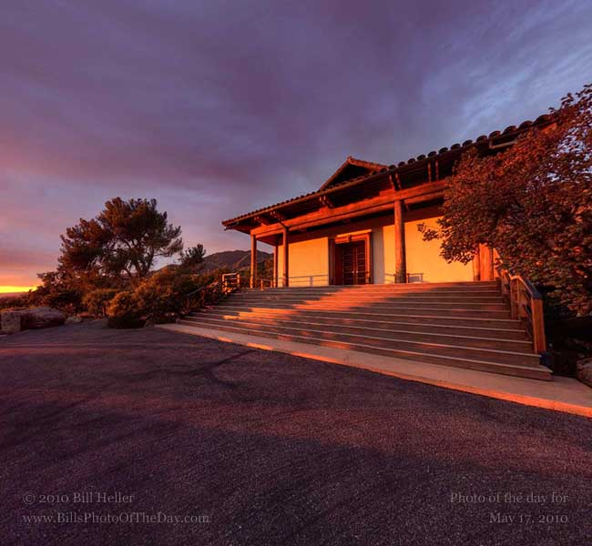 360 degree view of Vendanta Temple lit by the setting sun, Montecito, California