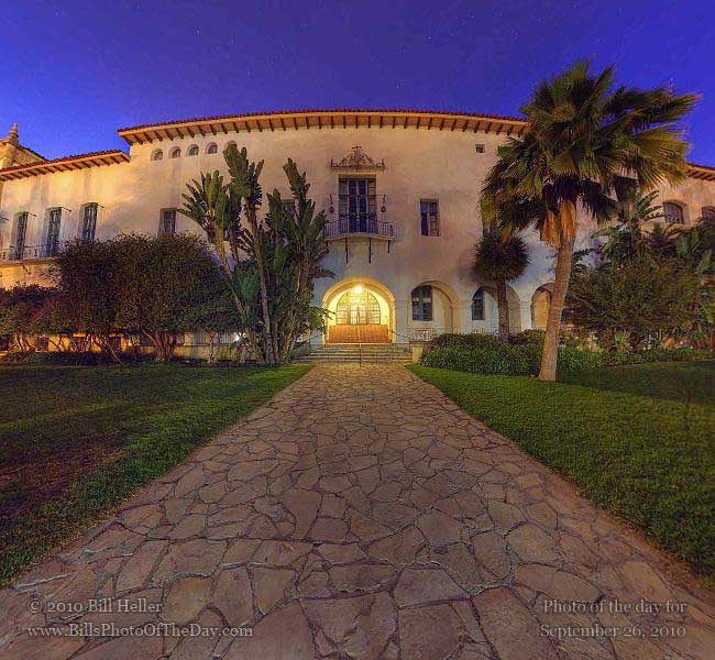 360° view of the Figueroa Entrance of the Santa Barbara County Courthouse, Santa Barbara, CA