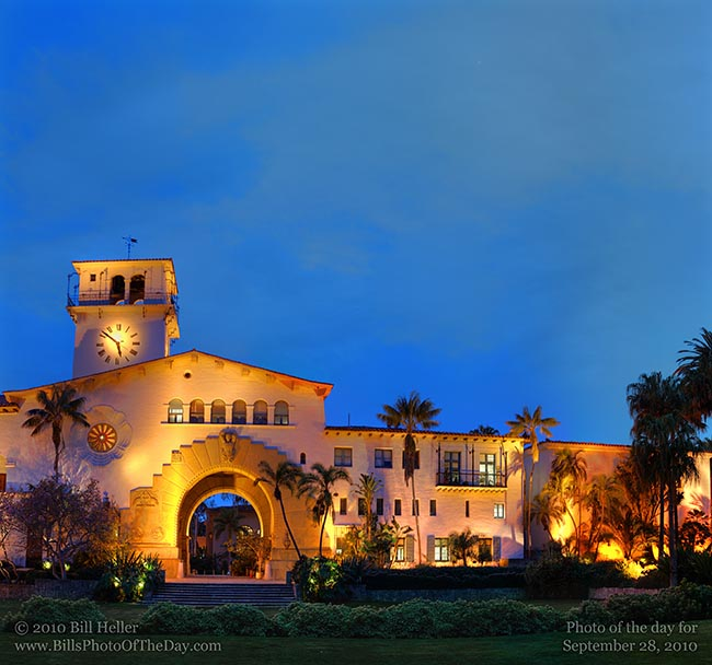 Santa Barbara County Courthouse just after dark from the Sunken Gardens