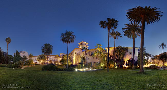 The Santa Barbara County Courthouse just after dark from the Anapamu side of the Gardens