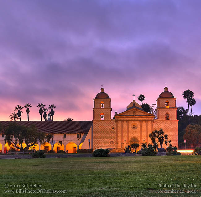 Mission Santa Barbara, Queen of the Missions, evening fog