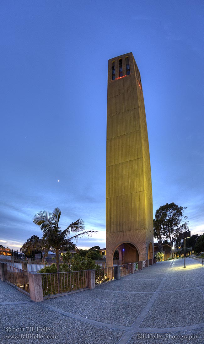Storke Twilight Vertical Panorama Storke Tower At