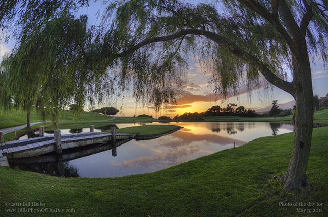 Sunset over the water hazard at the Sandpiper Golf Course
