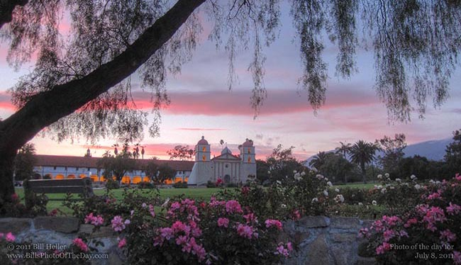 Sunset from under the tree at the Santa Barbara Mission Rose Garden