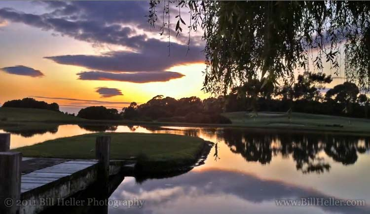 Sunset Time lapse over the lake at the Sandpiper Golf Course