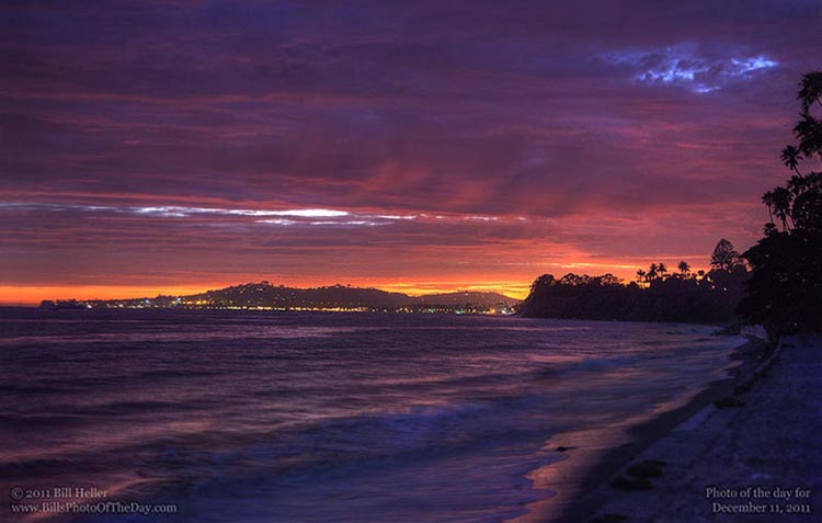 View of the Sunset Clouds over Santa Barbara from Butterfly Beach