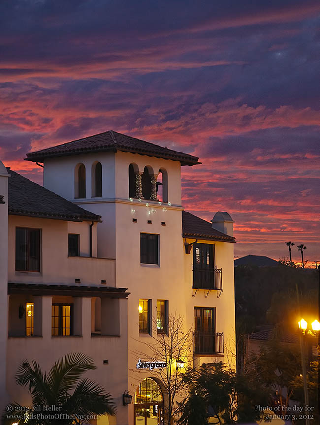 Winter Sunset over Santa Barbara's Red Tile Roof Architecture