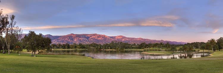 Sunset colors on the Santa Barbara Mountains behind Laguna Blanca in Hope Ranch