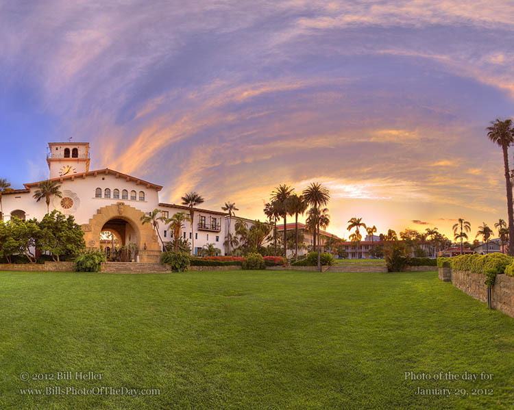 Santa Barbara County Courthouse 360° sunset view