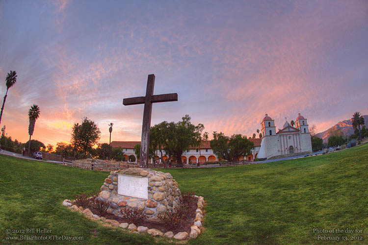 Sunset at the Santa Barbara Mission by the Cross