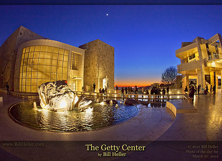 The Getty Center West Pavillion Fountain at Twilight