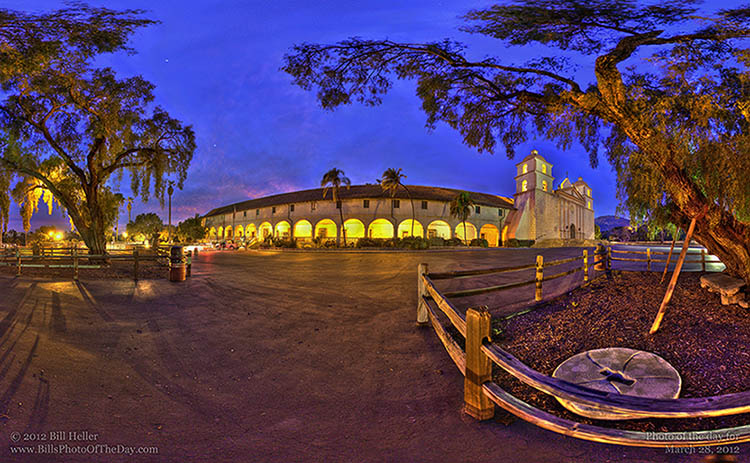 Santa Barbara Mission after dark by the Pepper trees