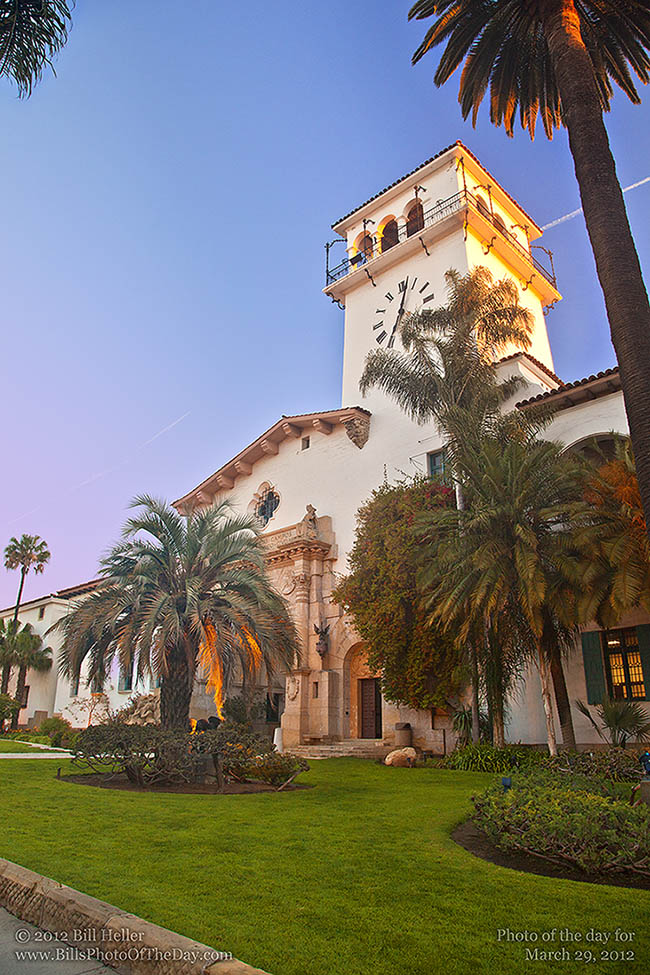 The Santa Barbara County Courthouse clocktower at sunrise
