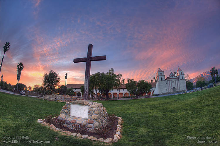 Sunset over the Santa Barbara Mission Cross