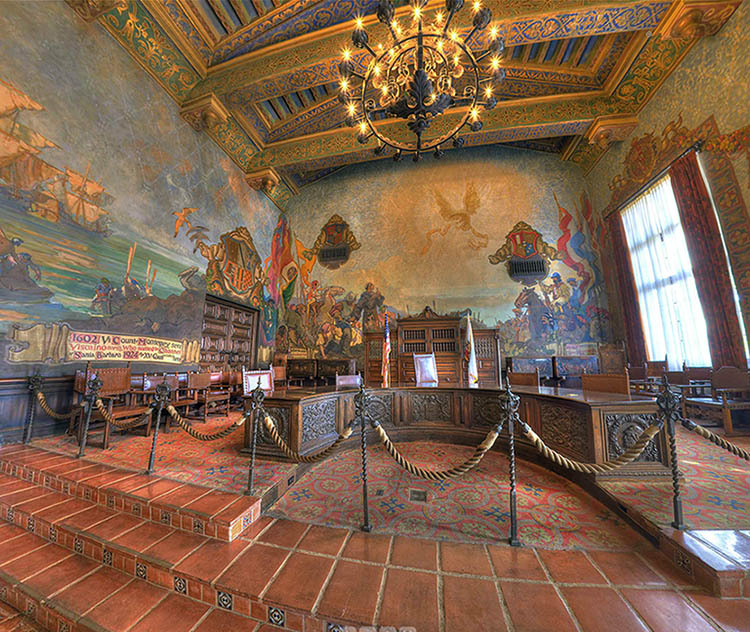 Santa barbara county courthouse mural room 360 degree for Mural room santa barbara courthouse