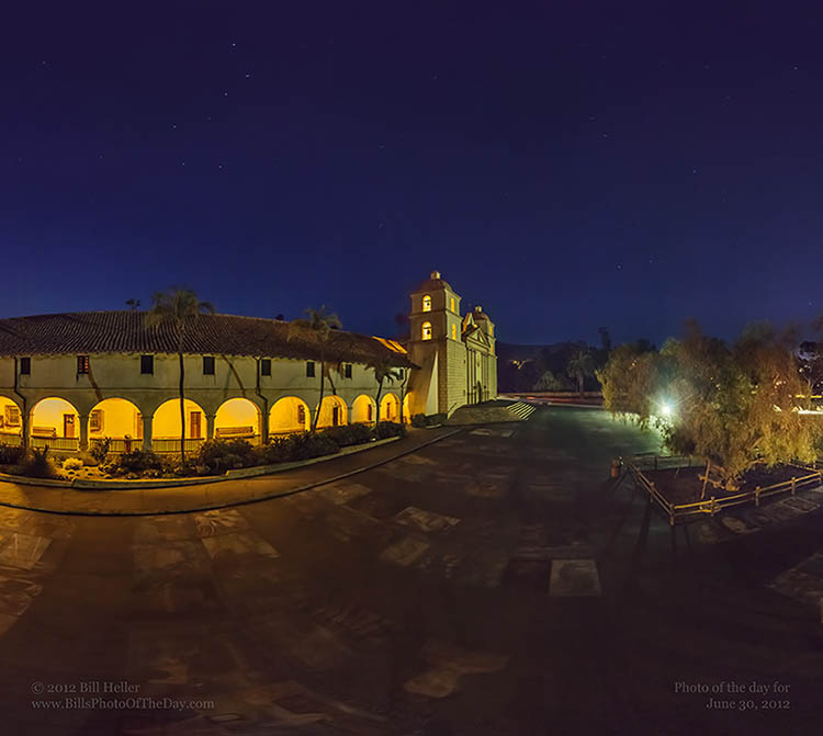 Santa Barbara Mission Under the Stars