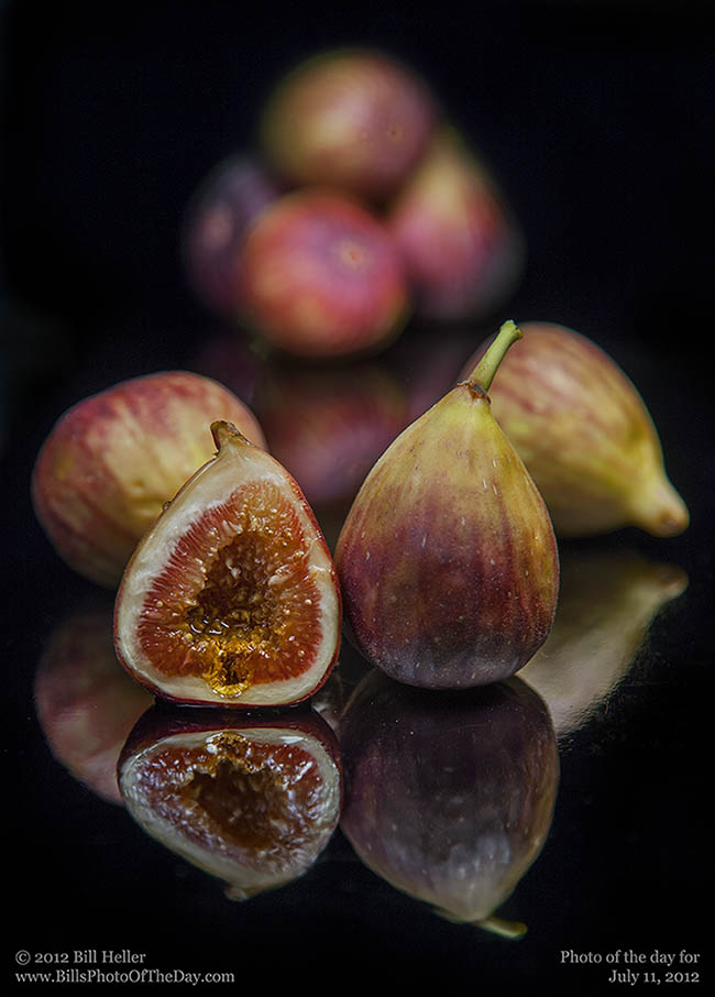 Figs on Black Reflective Surface