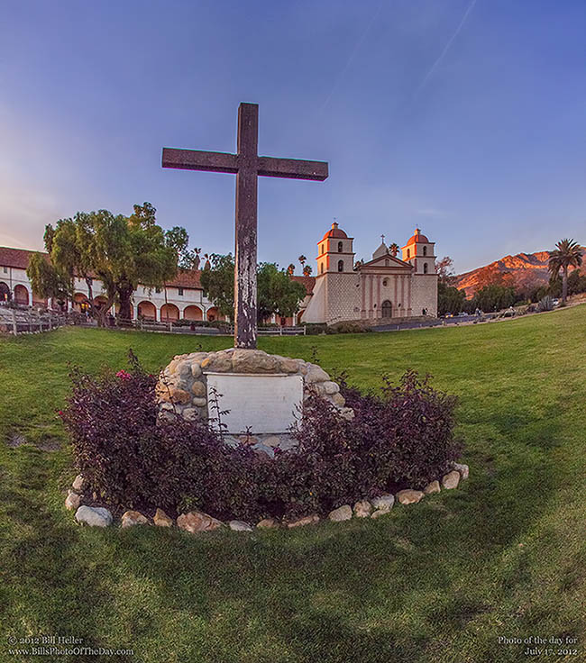 Santa Barbara Mission and Cross at the Golden Hour
