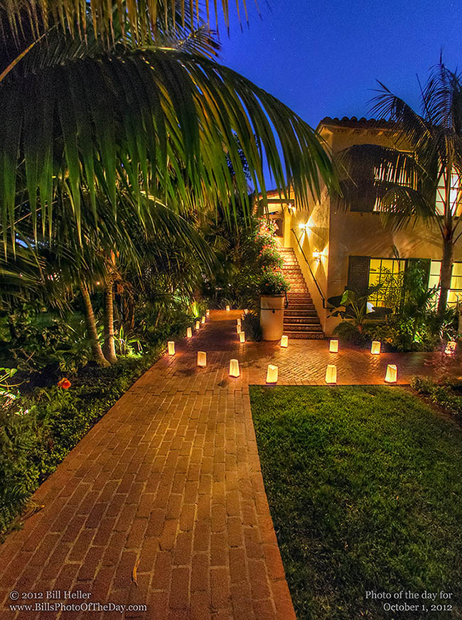 Luminary Lit Path at the Biltmore in Montecito, California