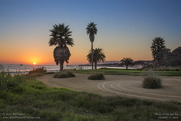 Overlooking Haskells Beach at Sunset from Sandpiper Golf Course, Goleta, California