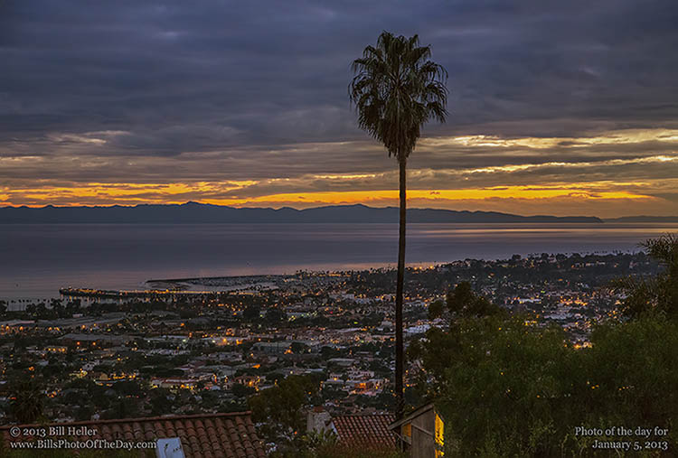 View over Santa Barbara at Sunset