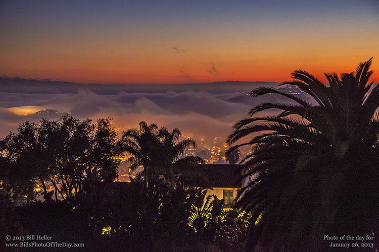 Fog rolling in over Santa Barbara