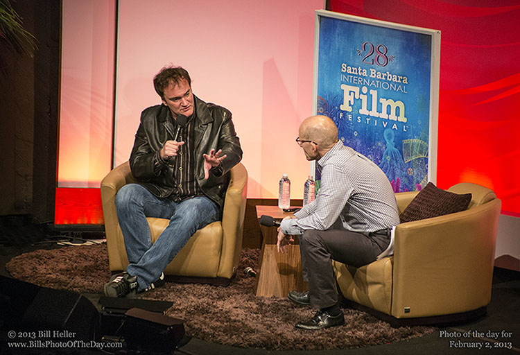 Quentin Tarantino in a Q and A session at the Arlington Theatre