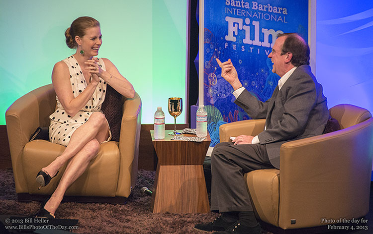 Amy Adams laughing during a Q and A session at The Arlington Theatre