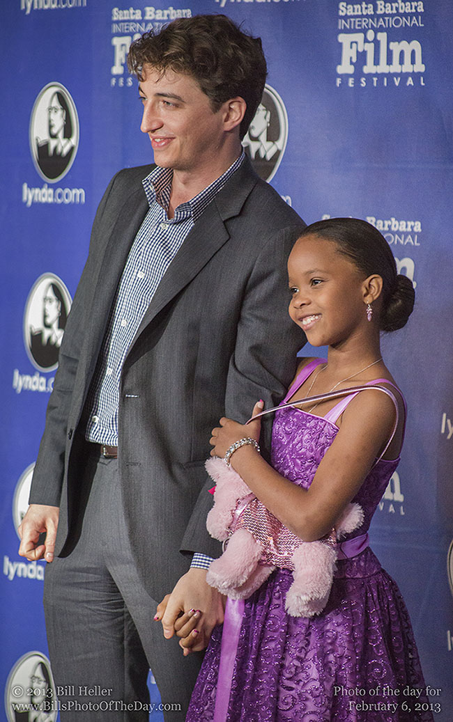 Quvenzhané Wallis and Benh Zeitlin walking the red carpet at The Arlington Theatre